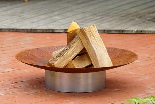 Feuerschale Gedi ø 58 x 13,6 cm aus Rohstahl mit Fuß aus Edelstahl