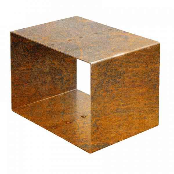 Holzlagerkubus Kuutio aus Cortenstahl