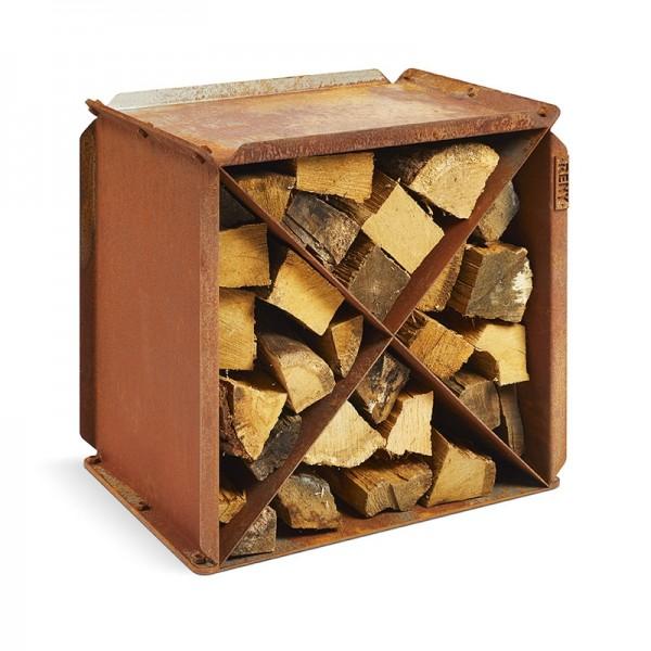 BloX Holzlager-Sitzhocker aus Cortenstahl