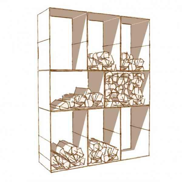 Holzlagerregal Kuutio-8 aus Cortenstahl