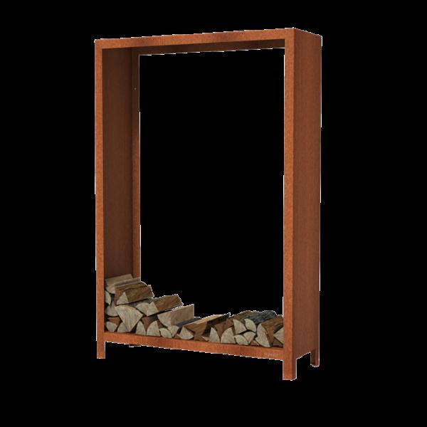 Holzlager Puuhylly-12418 aus Cortenstahl