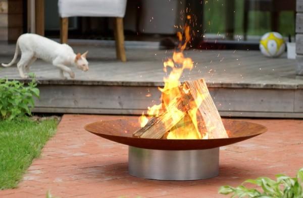 Feuerstelle Gedi ø 80 x 20 cm aus Rohstahl rostemd mit Fuß aus Edelstahl